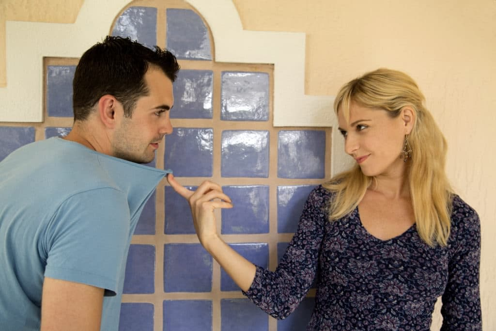Wife encouraging husband to be intimate together